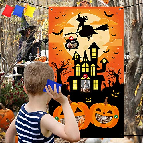 Halloween Toss Game with 3 Bean Bags - Halloween Party Supplies Trick Or Treat Pumpkins witches bats, Cornhole Games Party Decorations Banner Backdrop - Halloween Picnic Indoor Outdoor Travel Activity