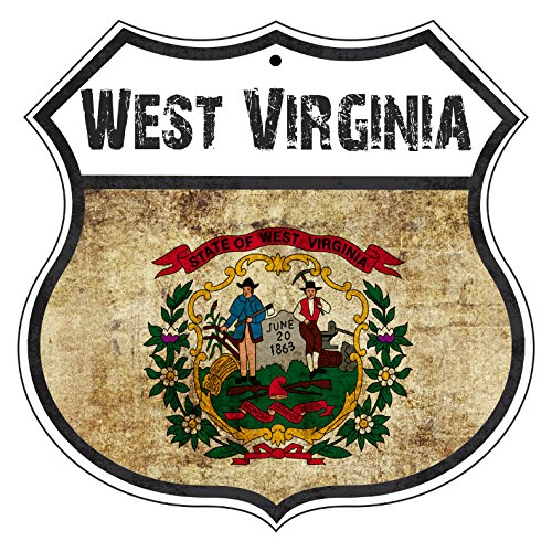 - WEST VIRGINIA State Province Flag Novelty Highway Vintage Retro Wall Décor Shield Metal Aluminum Sign