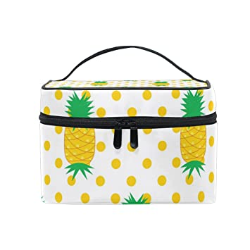 c56dd8ae68 Amazon.com : Cosmetic Bag Case Pineapple Polka Dots Gold Yellow Toiletry  Makeup Bag : Beauty