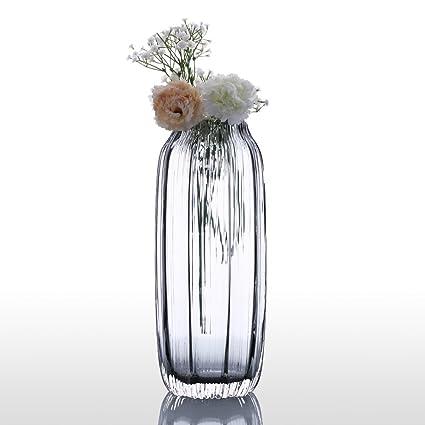 Amazon Flower Glass Vase Modern Ribbed Design Glass Vase Home
