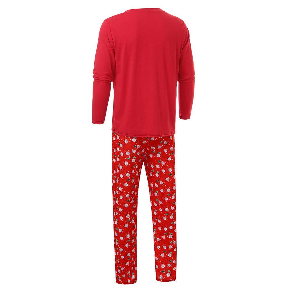 Gufenban Christmas Pajamas Family Set,Men Daddy Santa Claus Tops Blouse Pants Family Pajamas Sleepwear Christmas Set+Fall Winter Set Men-Red,XL