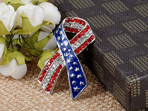 Silvery Tone Crystal Rhinestone USA Flag Brooch Pin -- July 4th Patriotic American Jewelry Photo #4