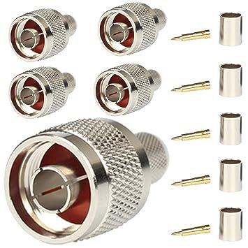 Conector N macho Crimp On Plug coaxial conector para LMR400 Belden 9913 cuerpo latón construcción chapado