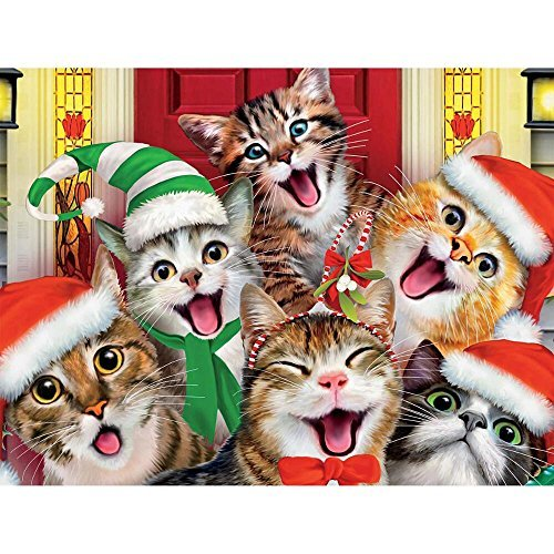 Christmas Selfies: Christmas Kitty Selfie At the Front Door : Ceaco 550 Piece Jigsaw Puzzle