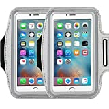 Universal Sports Armband Casehigh Shop Running-Exercise Gym Sportband Water Resistant Sweat Proof Key Holder Running Pouch Touch Good For hiking,Biking,Walking Screen Up To 5.7 inch (Silver 2 Pack)
