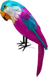 LWINGFLYER Pink Artificial Parrot Lifelike Feathered Birds for Home Garden Party Crafts Decoration