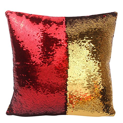 Reversible Sequin Pillow Case Decorative Mermaid Pillow Cover Color Changing Cushion Throw Pillowcase 16 x 16,Red and Gold