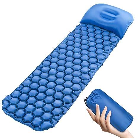 Colchoneta inflable para dormir, ultraligera, para acampada, con almohada inflable incorporada, compacta, resistente al agua, a la humedad, para ...