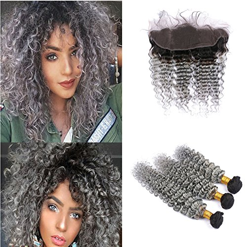 Ruma Hair Silver Grey Ombre Virgin Human Hair Weaves With 13x4 Ear to Ear Full Frontals 4Pcs Lot Two Tone 1B Gray Dark Root Ombre Mink Deep Wave Curly Lace Frontal Closure With Bundles (8+10 10 10)