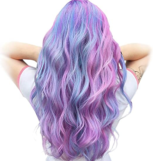 STfantasy Pelucas mujer pelo natural largo rizado con flequillo colores rosa azul púrpura sintético unicornio peluca carnaval halloween fiesta de ...