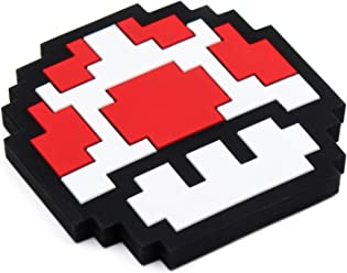 Bumkins Nintendo Silicone Teether, Textured, Soft, Flexible, Bacteria Resistant - 8-Bit Red Mushroom