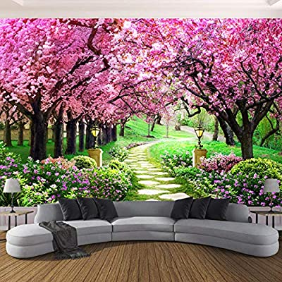 Fifikoj 3D Photo Wallpaper Flower Romantic Cherry Blossom Tree Small Road Wall Mural Wallpapers for Living Room Bedroom Wall@_200X140CM: Baby