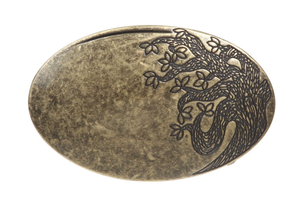 Oval Flower Tree Engraving Belt Buckle, Antique Silver beltiscool 2561:A002