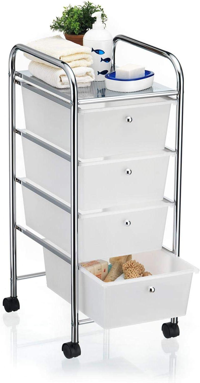 IDIMEX Caisson sur roulettes SANO Chariot avec 20 tiroirs en Plastique Blanc  Transparent et 20 étagère, Meuble de Rangement pour Salle de Bain en métal