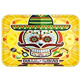 VROSELV Custom Door MatDay of The Dead Decor Mexican Sugar Skull with Tacoand Chili Pepper November nd Colorful Art Yellow