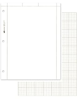 8.5x11 Case of 10 packs of 500 Sheets Engineer Paper 500 sheets of 16# Green tint Paper 5x5 printed Grid polywrapped 3-Hole Punched