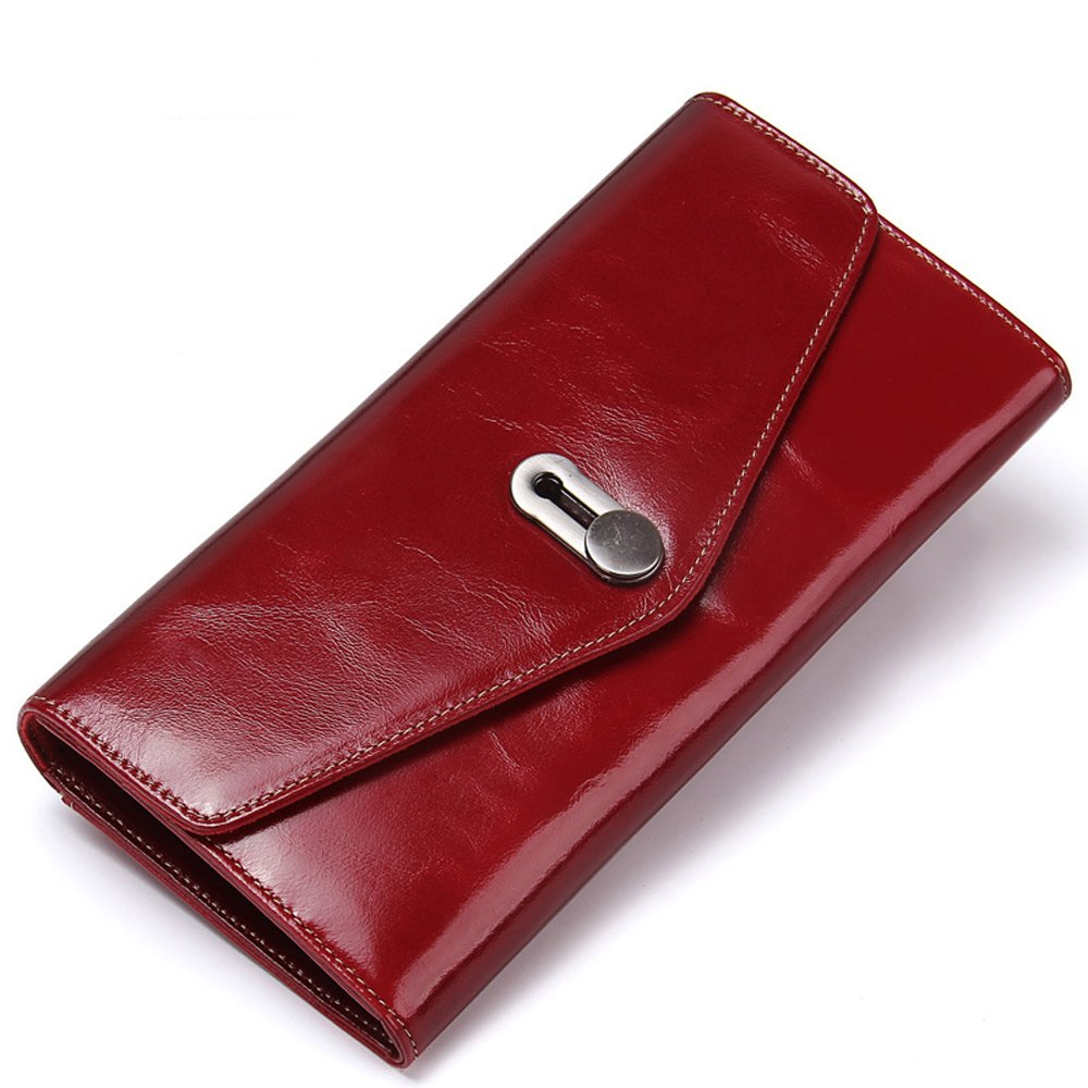 Womens Leather Wallet, Vintage Cowhide Leather Bifold zipper with Credit Card Holder Bifold Wallet (Red #1)