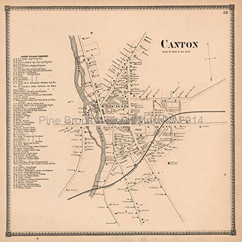Canton Village New York Antique Map Beers 1865 Original Decor History Ancestry Gift Ideas