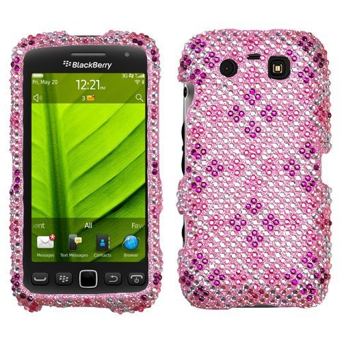 Plaid Hot Pink/Purple Diamante Phone Protector Faceplate Cover For RIM BLACKBERRY 9850(Torch), (Protector Cover Blackberry Torch)