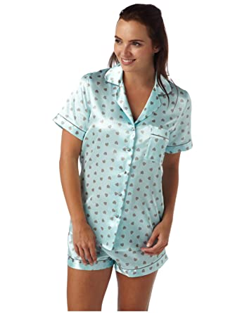 Indigo Sky - Pijama - con botones - Manga corta - para mujer Multicolor mint heart 44: Amazon.es: Ropa y accesorios