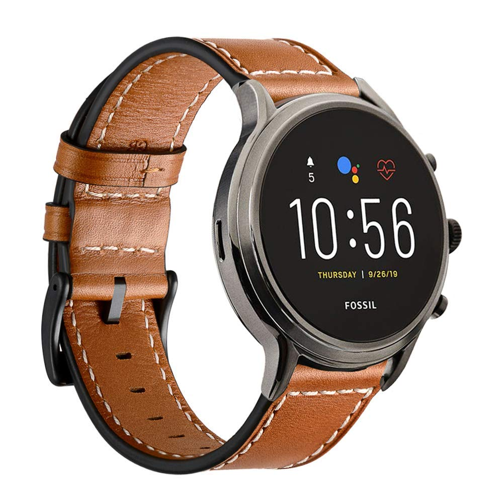Intoval Classic Leather Sports Bands for Fossil Men's Gen 5 Carlyle/Fossil Women's Gen 5 Julianna/Fossil Men's Gen 4 Explorist Smartwatches.(22mm Black)