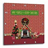 3dRose Beverly Turner Christmas Design - Christmas Room, Fireplace, Tree, Toys, Have Yourself a Merry Christmas - 10x10 Wall Clock (dpp_267908_1)