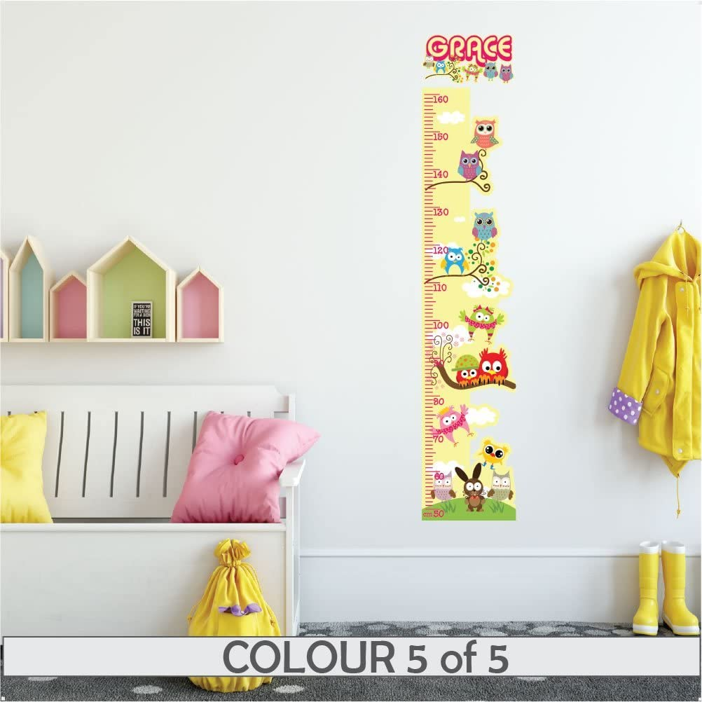 Pink Decal Girls Boys Childrens Nursery Bedroom StickersMagic Colourful Wall Art for Height Measure Personalised Height Chart OWL for Kids Wall Sticker Growth