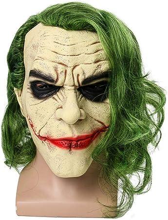 Bsopem Máscara de Joker de Halloween, cosplay de payaso de terror máscara de látex, con luz LED y peluca de pelo, para disfraz de Halloween: Amazon.es: Hogar