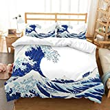 CWHALE Duvet cover set with Art Cartoon blue wave painting printing beding sheet set for children teens and adults bed collection,GB/EUdouble200x200cm