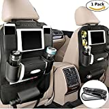 car storage - PALMOO Pu Leather Car Seat Back Organizer and iPad mini Holder, Universal Use as Car Backseat Organizer for Kids, Storage Bottles, Tissue Box, Toys (1 Pack, Black)