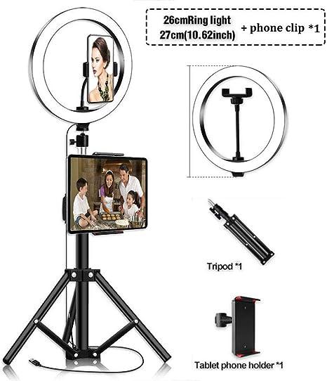 Ringleuchte Mit Stativ Für Handy Und Ipad Led Ringlicht Selfie 2 Handyhalterung 3200 5500k Standfuß Farbtemperatur 10 Zoll 3 Farbe 10 Helligkeit Dimmbare Stehlampe Tischlampeheight 80 Cm 32 Inches Küche Haushalt