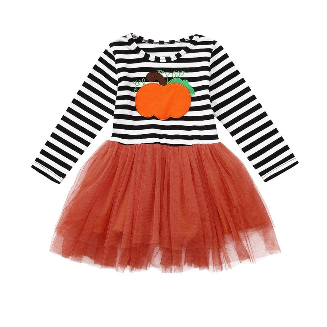 Suma-ma (18M-5T) Kids Baby Girls Long Sleeve Halloween Pumpkin Striped Cotton Dress+ Lovely Headbands Set,Casual,Daily and Party