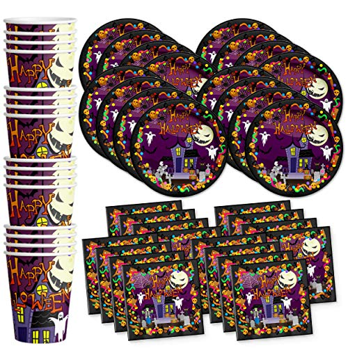 Birthday Galore Happy Halloween Party Celebration Supplies Set Paper Plates Napkins Cups Tableware Kit for 16]()