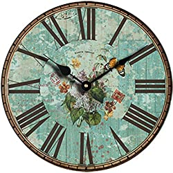 Grazing 10 Arabic Numerals ,Shabby Chic Style Wooden Round Home Decorative Wall Clock (Green Flower)