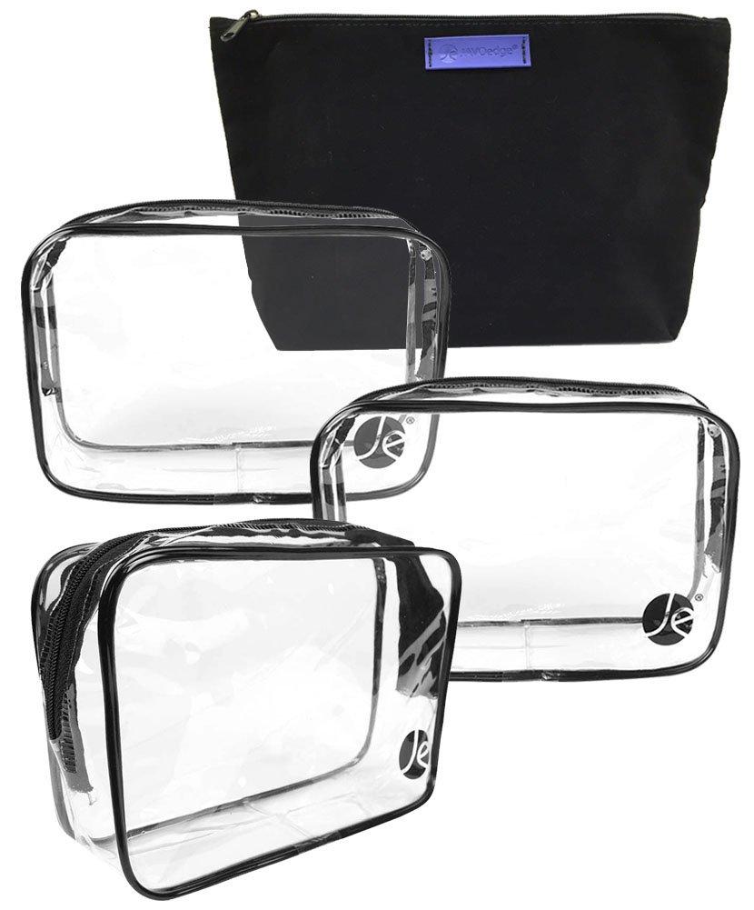 "JE 4 PCS Basic Bundle: (3 Pack) Clear PVC Zipper Cosmetic Bag (7.1"" x 2.1"" x 5"") and (1 Pack) Zipper Bag (10"" x 2"" x 6"")"
