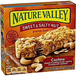 Nature Valley Granola Bars, Sweet and Salty Nut, Cashew, 6 Bars - 1.2 oz