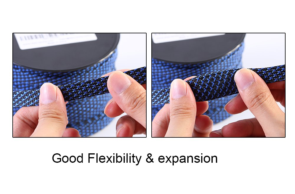 Alex Tech Braided Cable Sleeve 3//4 inch Flexo PET Expandable Braided Sleeving 100ft BlackBlue