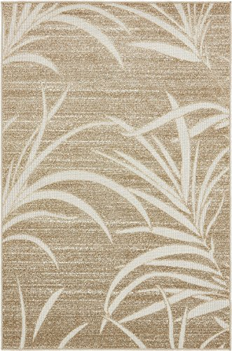 Transitional Outdoor Rug - A2Z Rug Indoor/Outdoor Rug Beige 4' x 6' -Feet Transitional Collection Area Rugs - Perfect for Outdoor Carpet