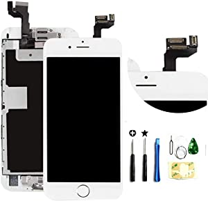 ZTR for iPhone 6s Plus 5.5 inch Screen Replacement Touch LCD Display Digitizer Glass Full Assembly with Camera Home Button Proximity Sensor Earpiece Speaker + Tool(White)