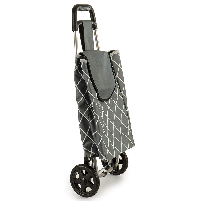 TU TENDENCIA /ÚNICA Carro de Compra de Aluminio superligero Azul Sistema de Plegado Estructura de Aluminio