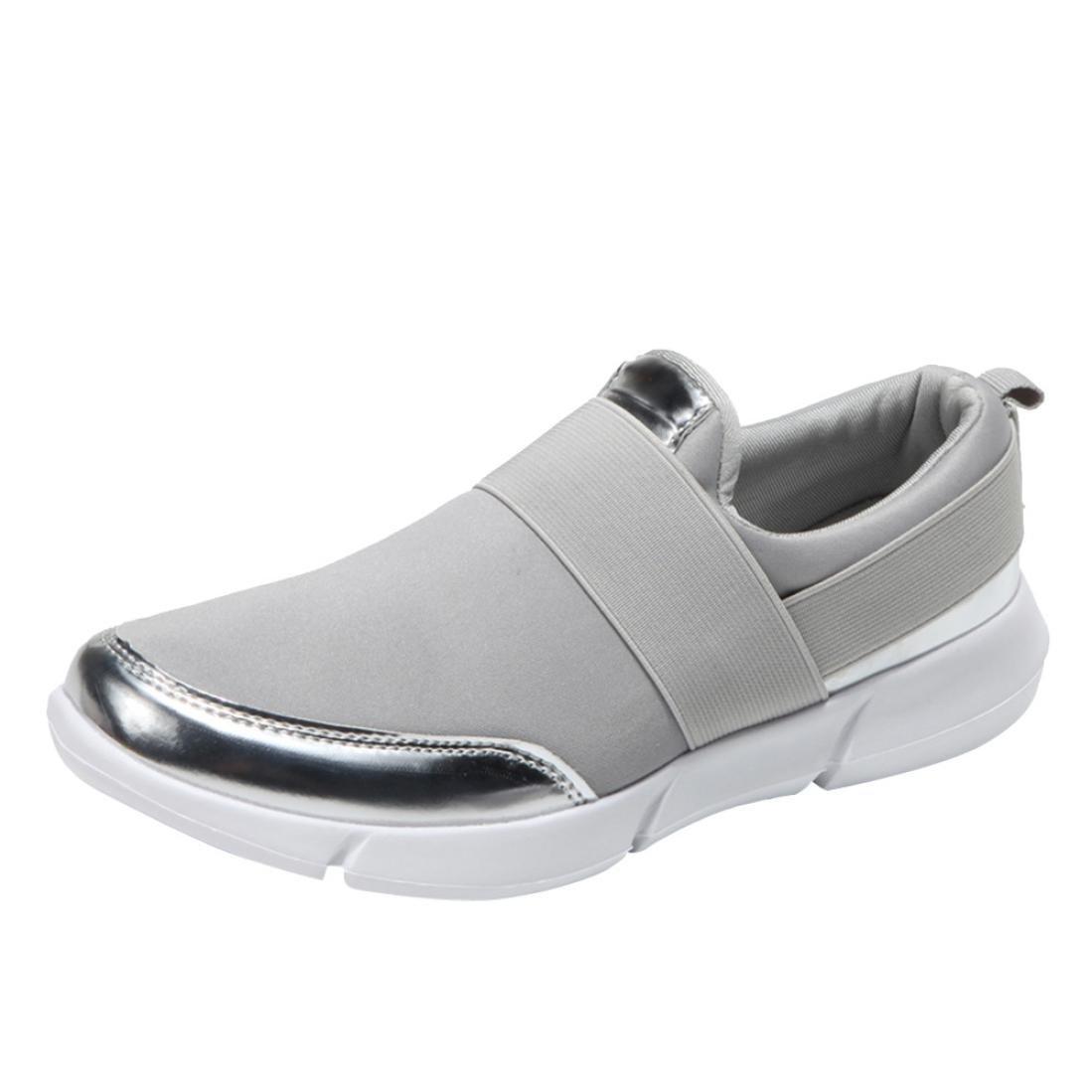 Lazzboy Damen Mesh Casual Faulenzer Atmungsaktive Flache Schuhe Weiche Laufschuhe Turnschuhe  38 EU|Grau