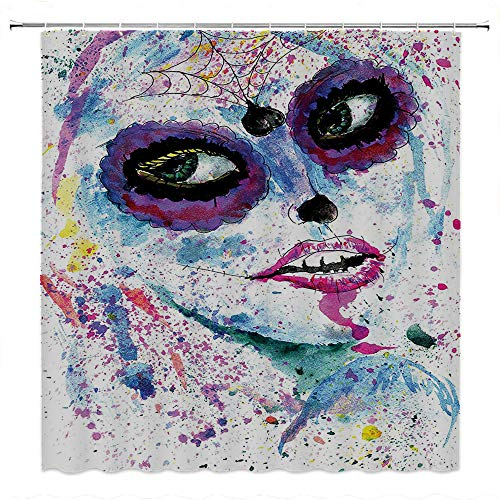 SATVSHOP Creative Home Ideas Textured Shower Curtain with Beaded Rings-Girly Grunge Halloween Lady with Sugar Skull Make Up Creepy Dead Face Gothic Woman Artsy Blue Purple.W66 x L72 inch]()