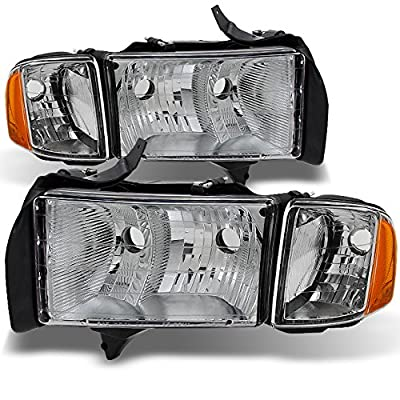 Dodge Ram 1500 2500 3500 Pickup Truck Sport Package Clear Headlights Head Lamps Replacement Pair Set