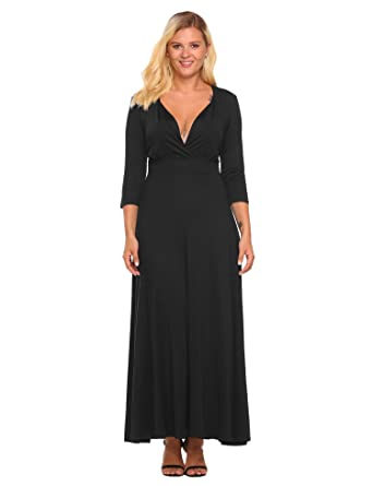 Sheshow Women s Deep V-Neck 3 4 Sleeve Solid Evening Party Maxi Dress Plus 655799e28