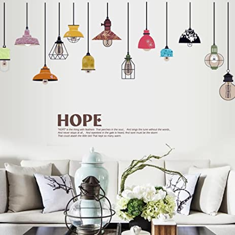 BIBITIME Colorful Hanging Style Chandelier Wall Decal Ceiling Lamp Art  Sticker For Living Room Girls Bedroom
