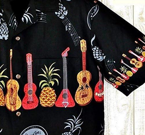 メンズ アロハシャツ ハワイ製 Winnie Fashion ブラック地/ウクレレ&パイナップル柄