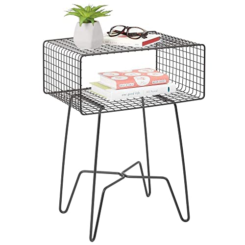 mDesign Modern Farmhouse Side End Table – Metal Grid Design – Open Storage Shelf Basket, Hairpin Legs – Sturdy Vintage, Rustic, Industrial Home Decor Accent for Living Room, Bedroom – Graphite Gray