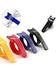 Perfectape Reusable Cable Ties, 0.5 Inche x 8 Inche, Total 100 Count, 5 Colors(Black, Red, Blue, Yellow, Grey)