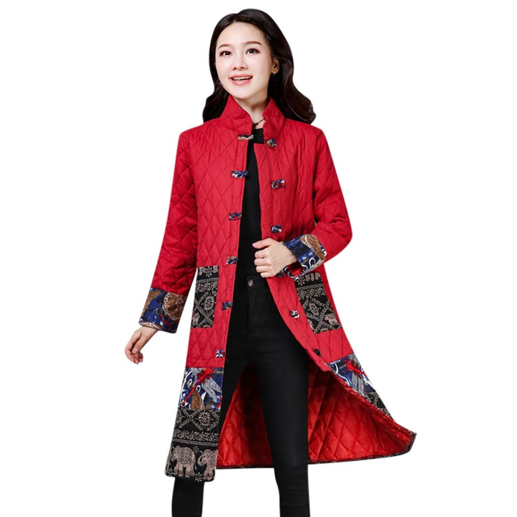 Funnygals - Women's Overcoat, Ladies Printed Hooded Pockets Coats Warm Stylish Button Padded Jackets Long Coats Outwear by Funnygals - Clothing