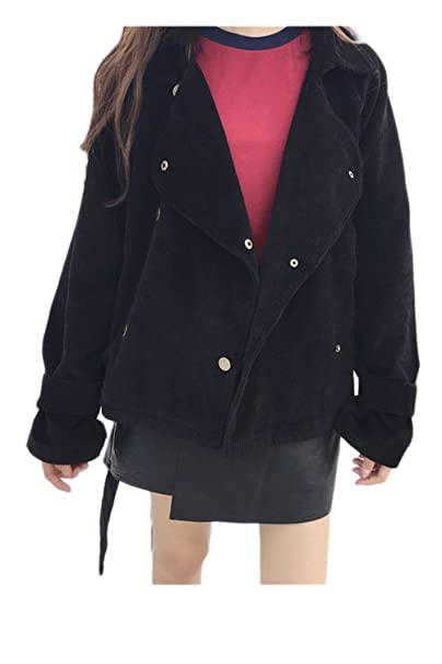 Vintage Biker de pana corto chaqueta mujer abrigos y chaquetas con cinturón Black One Size